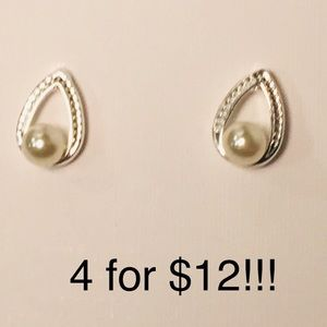 Jewelry - 4 for $12: Pearl Like Dainty Earrings